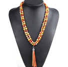 Fashion Hot Sale Potato Shape Natural Yellow Pink & Orange Pearl Long Necklace with Suede Leather Tassel (Tassel Can Be Removed)
