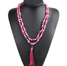 Fashion Hot Sale Potato Shape Natural White Orange & Rose Red Pearl Long Necklace with Suede Leather Tassel (Tassel Can Be Removed)