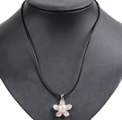 Simple Elegant Natural Big Flesh Pink Freshwater Pearl Flower Pendant Leather Necklace