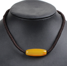 Hot Sale Topaz Agate Pendant Hand-Knitted Necklace