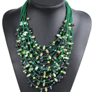 Luxurious Statement 15 Layers Christmas Green Series Crystal Pearl Party Necklace