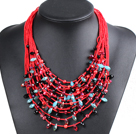 Luxurious Statement 15 Layers Christmas Red Series Crystal Pearl Party Necklace
