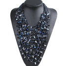 Luxurious Statement 15 Layers Black Series Crystal Pearl Party Necklace