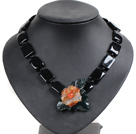 Vintage Style Square Shape Black Agate Red Natural Agate Flower Pendant Party Necklace