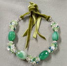 Fashion Ethnic Style Green Series Green Crystal Agate Adjustable Necklace With Green Suede Thread