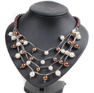 Trendy Style Multi Strand Brown & White Seashell Beads Necklace With Bending Alloyed Tube