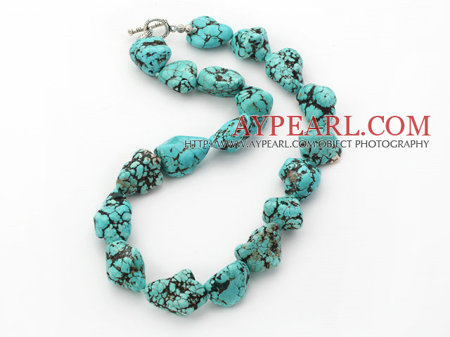 popular chunky style blue turquoise necklace