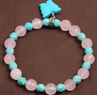 Wholesale Fashion Style Turquoise Skull and Rhinestone Ball and Tungsten Steel Stone Drawstring Bracelet