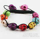 Mote Stil Multi Color Turkis Skull Drawstring Halloween armbånd