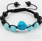 Shamballa Stil Black Agate og Cat Eye og Imitation Turquoise Flower veves Drawstring armbånd