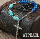Wholesale Assorted Blue Agate and Turquoise Bracelet with Metal Chain and Cross Pendant