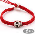 Mote Stil Howlite Skull weaved Halloween Armbånd med Red Thread