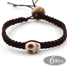 Fashion Style Howlite Skull Weaved Halloween Drawstring Bracelet with Brown Thread