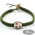 Fashion Style Howlite Skull Weaved Halloween Bracelet with Dark Green Thread