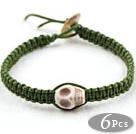 Wholesale Fashion Style Howlite Skull Woven Halloween Bracelet with Dark Green Thread