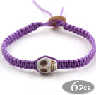 Wholesale Fashion Style Howlite Skull Woven Halloween Bracelet with Purple Thread