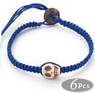 Fashion Style Howlite Skull Weaved Halloween Bracelet with Dark Blue Thread