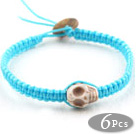 6 Pieces Fashion Style Howlite Skull Woven Halloween Bracelet with Sky Blue Thread