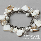 Wholesale White Series White Freshwater Pearl Shell and Clear Crystal Bracelet with Metal Chain