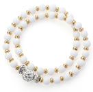 Double Rows White Porcelain Stone and Golden Color Beads Stretch Bangle Bracelet with White Rhinestone Ball
