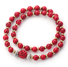 Wholesale Double Rows Red Alaqueca Beads and Golden Color Beads Stretch Bangle Bracelet with Red Rhinestone Ball