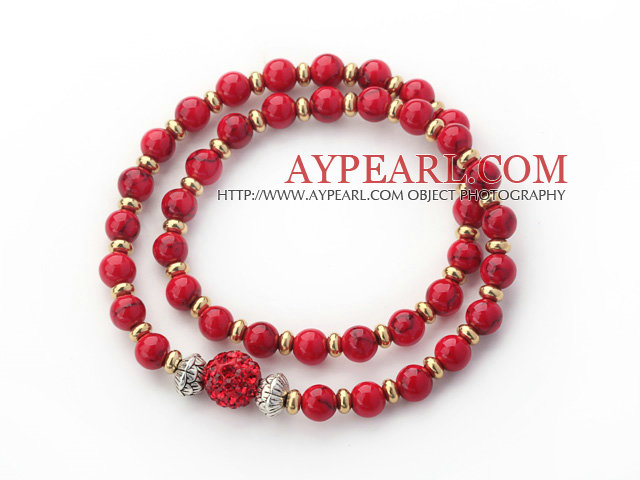 Double Rows Red Alaqueca Beads and Golden Color Beads Stretch Bangle Bracelet with Red Rhinestone Ball