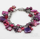 Rød Series Purple Red Freshwater Pearl Shell og Crystal armbånd med Metal Chain