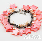 Wholesale Pink Series Pink Freshwater Pearl Shell and Crystal Bracelet with Metal Chain