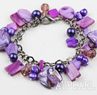 Wholesale Purple Series Purple Freshwater Pearl Shell and Crystal Bracelet with Metal Chain