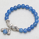 8mm Round Blue Agate Stretch Bangle Bracelet with Two Fish Accessories