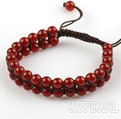 Fashion Style Two Rows 6mm Round Carnelian Beaded Weaved Drawstring Bracelet