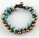 Wholesale Fashion Style Three Layer Turquoise Chips and Brown Shell Beads Bracelet