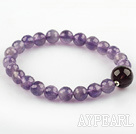 Facted Round Amethyst og Smoky Quartz Stretch Bangle Bracelet