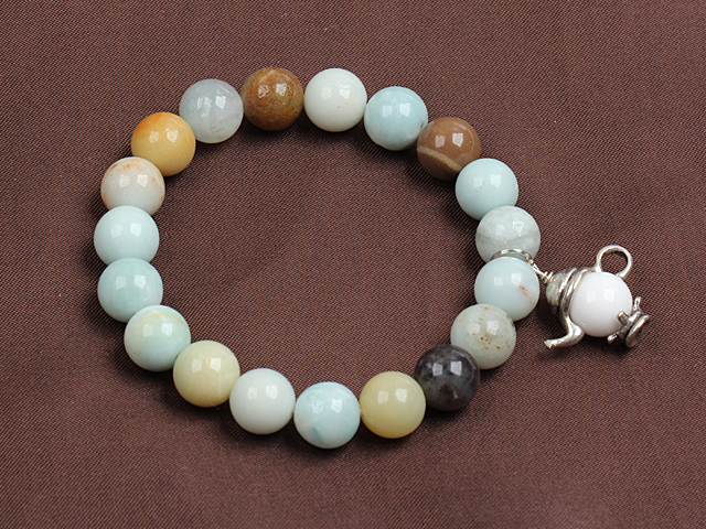 Fashion Multi Color Amazon Stone Elastic/ Stretch Bracelet With Teapot Charm