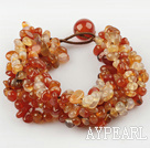 Wide Style Natural Color Agate Fillet Chips Weaved Bracelet