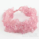 Pink Series Wide Style Rose Quartz Fillet Chips Woven Bracelet