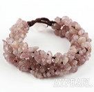 Wide Style Strawberry Quartz Fillet Chips Woven Bracelet
