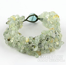 Wholesale Green Series Wide Style Green Rutilated Quartz Fillet Chips Woven Bracelet