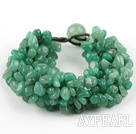 Green Series Wide Style Aventurine Fillet Chips Weaved Bracelet
