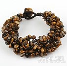Brown Series Wide Style Tiger Eye Fillet Chips Weaved Bracelet