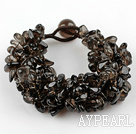Wide Style Somky Quartz Fillet Chips Woven Bracelet