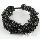 Black Series Wide Style Black Agate Chips Weaved Bracelet