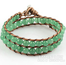 Wholesale 6mm Round Aventurine Wrap Bangle Bracelet with Leather Cord with Metal Clasp
