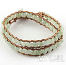 6mm Round Serpentine Jade Wrap Bangle Bracelet with Leather Cord with Metal Clasp