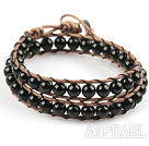 Wholesale 6mm Round Black Agate Wrap Bangle Bracelet with Leather Cord with Metal Clasp