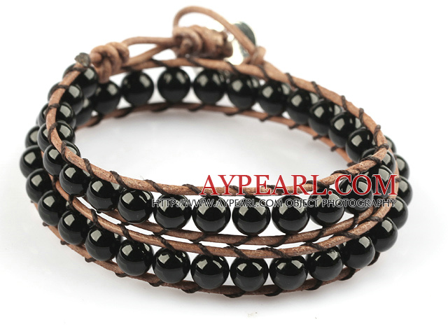 6mm Round Black Agate Wrap Bangle Bracelet with Leather Cord with Metal Clasp