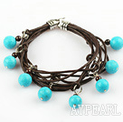 Wholesale Lovely Style Multi Strands Round Blue Turquoise and Garnet Leather Bracelet