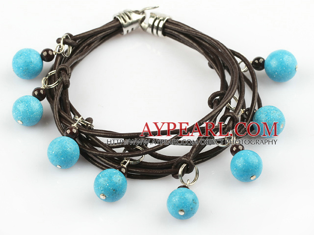 Lovely Style Multi Strands Round Blue Turquoise and Garnet Leather Bracelet