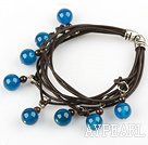 Wholesale Lovely Style Multi Strands Round Blue Agate and Garnet Leather Bracelet