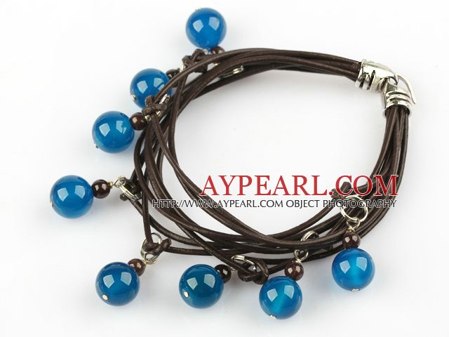 Lovely Style Multi Strands Round Blue Agate and Garnet Leather Bracelet